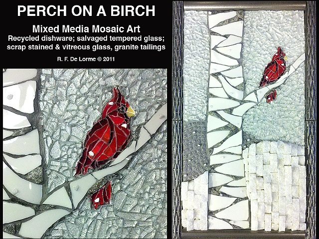 mosaic, glass, tempered glass, stained glass, cardinal, red, snow, granite, white, gray, birch, tree, winter, vermont, studio fresca, fine art