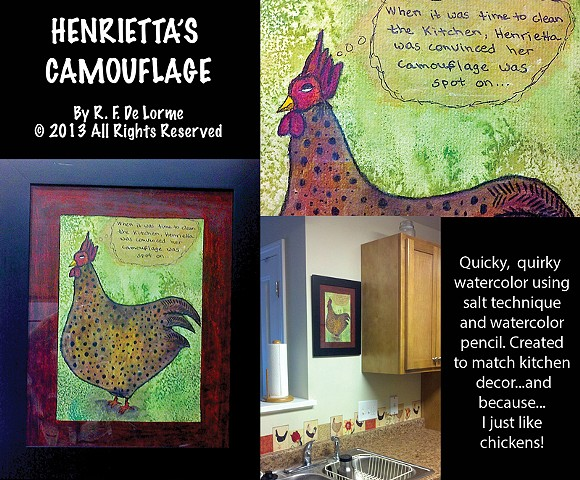 studio fresca, watercolor, watercolor pencil, color pencil, chicken, painting, art, salt technique