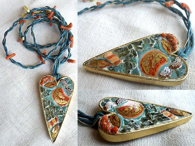 CORAL SEAS Mosaic Jewelry Pendant