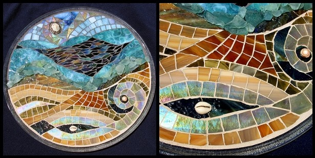 mosaic, stained glass, tropical, hawaii, kauai, studio fresca, sea shells, ocean, beach, figure, nude, round, sea glass, recycled, salvaged