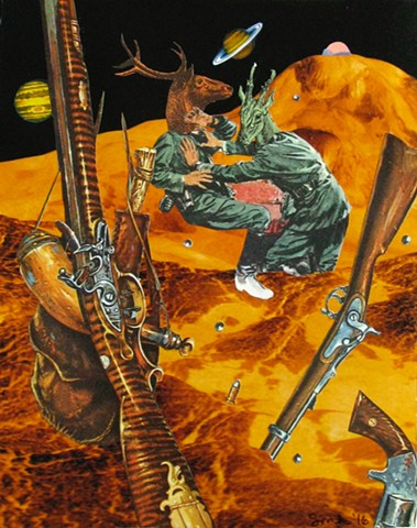 Boys will be boys. These two deer men engage in some hand to hand combat and leave the guns floating in space. Thankfully there's no gravity. analog collage collage-a-dada shawn marie hardy