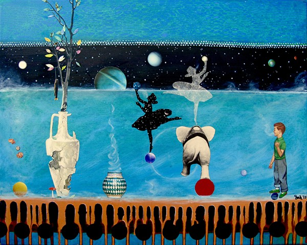 Surreal painting / collage featuring a boy, ballerinas, an elephant, and the universe full of planets.
