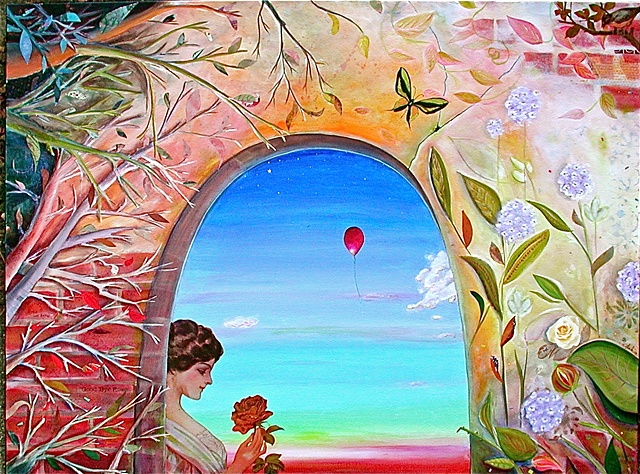 A beautiful Victorian woman admires the sunset and a rose from beyond the garden wall during dusk, while a red balloon makes its way to the stratosphere.