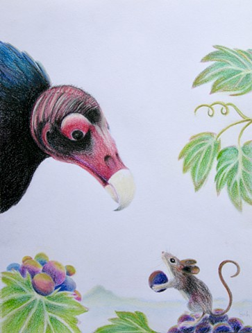 Drawing of Turkey Buzzard from the raptor center, and an Oregon Field Mouse in a Standoff with a wine grape as an offering of peace and mountains in the distance