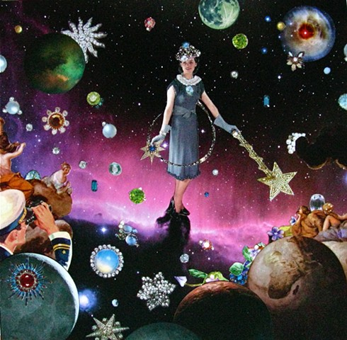 She twirls and swirls with stars and jewels in a purple universe far away. People love to watch her perform her magic. analog collage, surrealism, collage-a-dada, shawn marie hardy