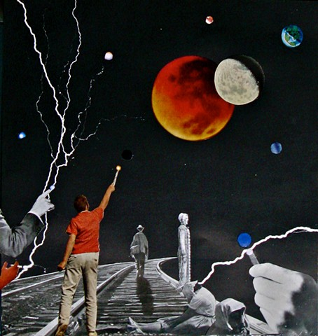 Make lightning with your fingers on this lonely stretch of train track in outer space where entranced people have nowhere to go. Analog collage, collage-a-dada, shawn marie hardy, surrealism
