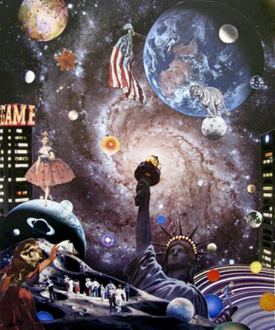 Statue of Liberty and her patriotic friends are winning this pinball game in a far off galaxy shared by planet Earth, by Shawn Marie Hardy