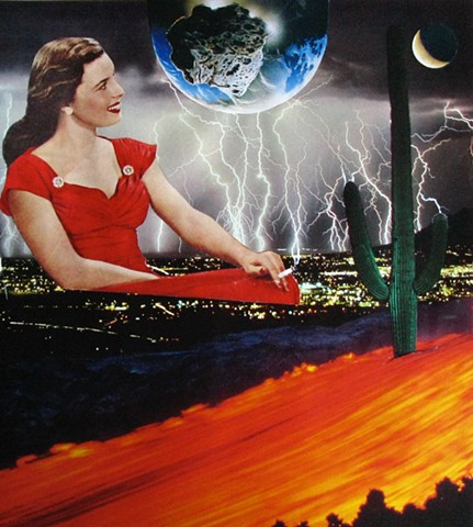 Smoking lady in the red dress lounges during the electrical storm. analog collage, surrealism, shawn marie hardy, collage-a-dada