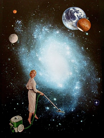 Analog collage featuring woman vacuuming up the milky way's stars in the dark skies of outer space.