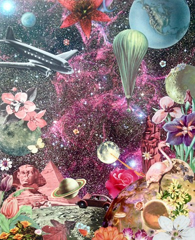 You can travel by plane, automobile, or hot air balloon to get from planet to planet in outer space. You might even see the pyramids or a flamingo. Analog collage
