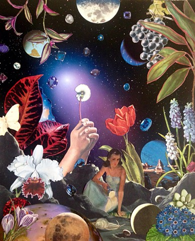 Flowers galore in outer space with stars and jewels and a happy gardener. Analog collage, shawn marie hardy, collage-a-dada, surrealism