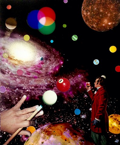 Shooting pool in outer space is not easy, especially when banking a shot. Just ask the guy with the cognac. He's going to have a headache in the morning. Analog Collage