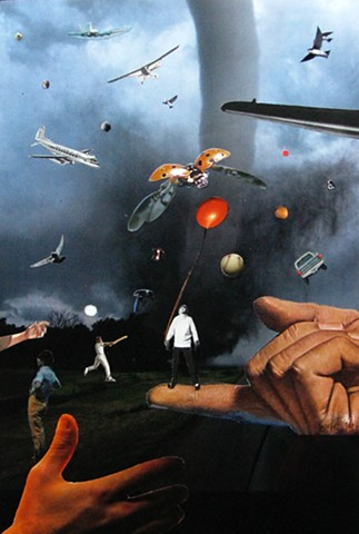 Air traffic control would have a field day with this eclectic group of air travelers trying to land before the tornado knocks them out of park. Play ball! Analog collage collage-a-dada shawn marie hardy