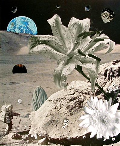 This astronaut's offering is a moon balloon, to the mysterious object of his desire, while walking on the moon. That moon lily is beautiful! Analog collage, collage-a-dada, shawn marie hardy, surrealism, black and white
