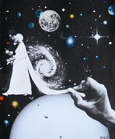 An ambitious artist draws a happy couple walking through outer space. analog collage collage-a-dada shawn marie hardy