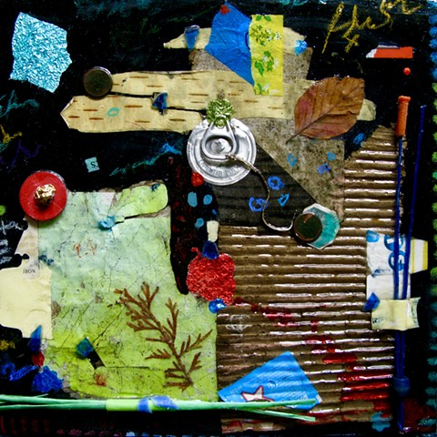Abstract Found object art with cardboard, metal, foil, pennies, plastic, glitter nail polish, candy wrappers, leaves, and a metal pull top lid