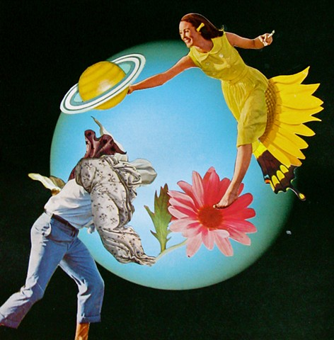 Guy blindly chases girl. Girl chases Saturn but her butterfly wing leg gives her an Advantage. Analog collage, surrealism, collage-a-dada, shawn marie hardy