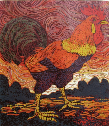 Red Sky and Rooster