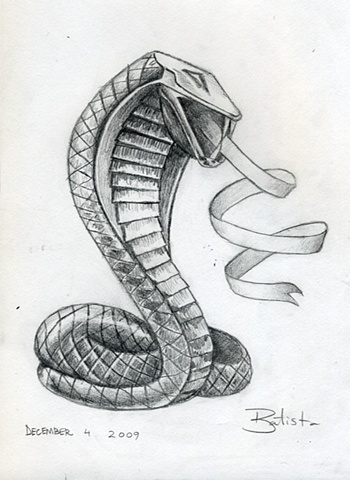 Cobra with forked ribbon