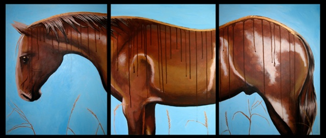 Horse triptych for equestrian ranch