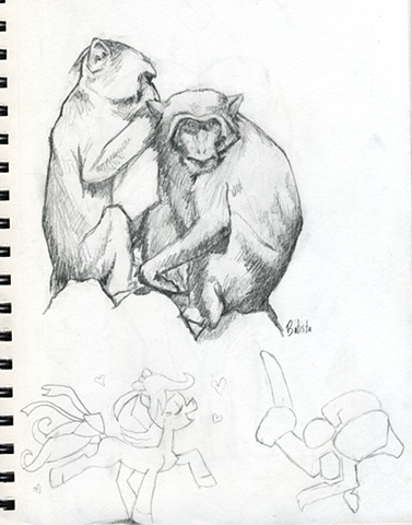 Two Monkeys sitting
