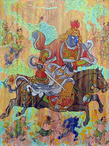 KUBERA ON HORSE tibetan thangka by Brian Batista