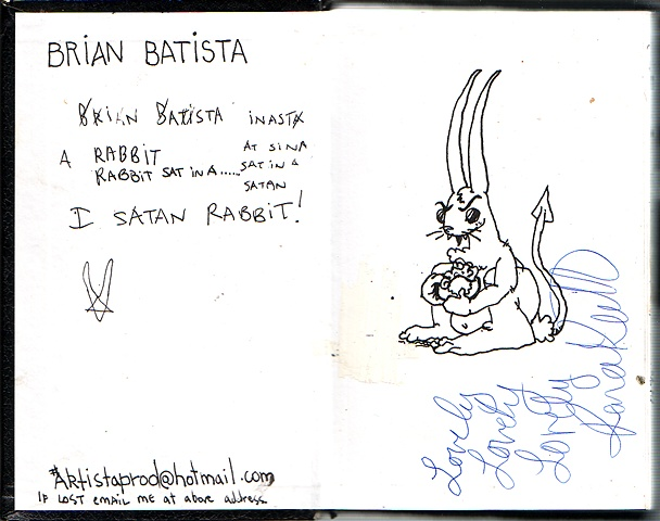"""I satan rabbit"" inside cover"
