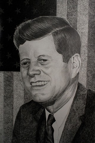President Kennedy Martyred President, Assassinated John F. Kennedy  Graphite Drawing