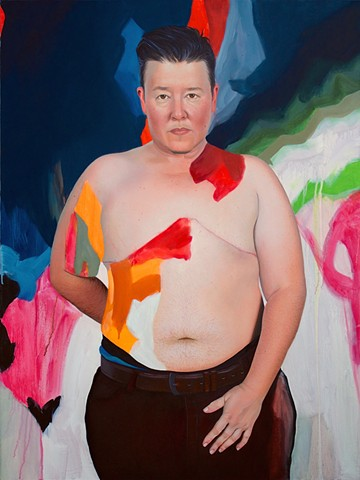 Portrait of a shirtless transgender man amidst an abstract background of navy blue, green, pink orange and white.