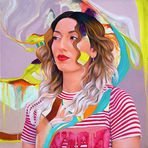Painted portrait of a woman with long ombré hair wearing a red and white striped shirt amidst a lavender purple, citrus green and blue abstract background.
