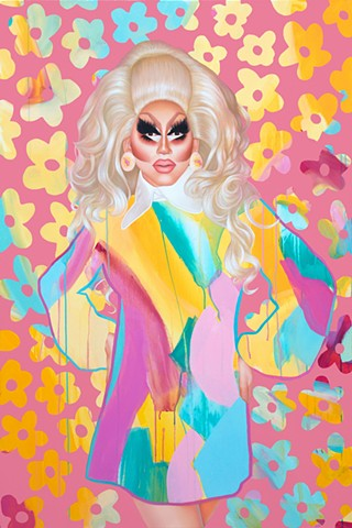 Abstract and realism portrait of drag queen Trixie Mattel in pink, blue and yellow.