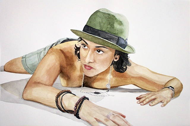 Watercolor painting of a nude lesbian woman wearing a hat and shorts.
