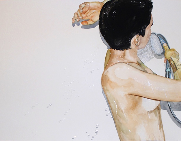 Watercolor painting of a nude lesbian woman taking a shower.