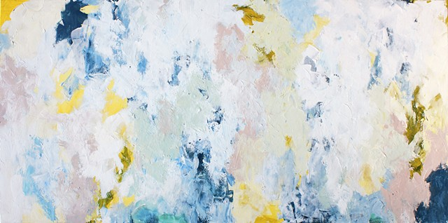 Abstract white painting with hints of yellow, blue, mint green and mauve pink.