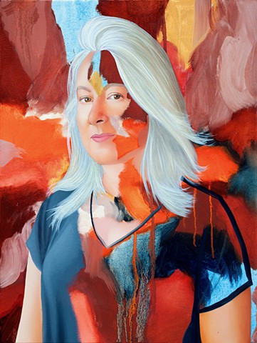 Portrait of a woman with grey hair in an orange, blue and brown abstract painting.
