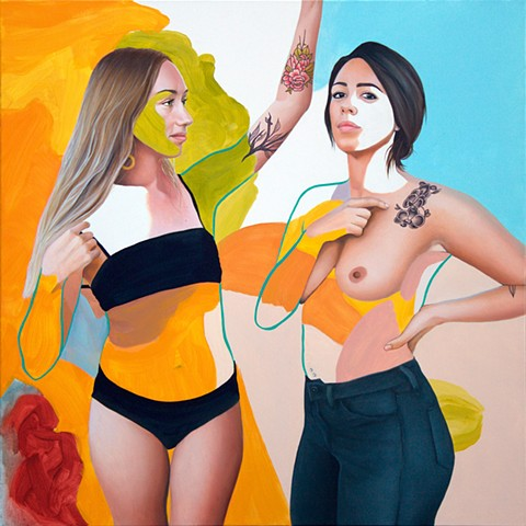 Portrait of two women painted realistically with abstract background in blue, green, orange and nude.