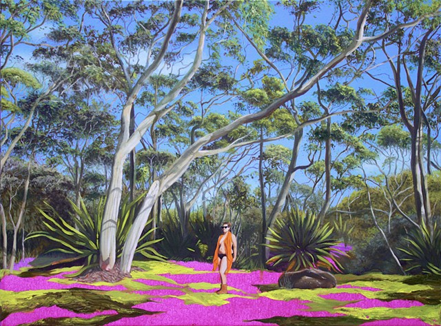 Painting of a topless women in the Australian woods among trees and foliage.