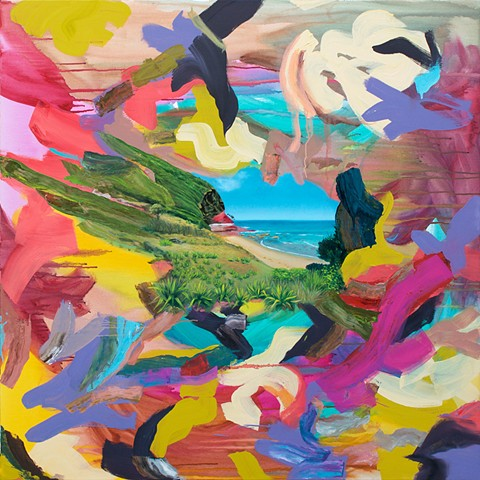 Colorful abstract painting of Werrong Beach in the royal national park south of Sydney, Australia.