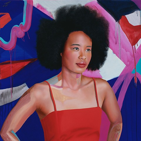 Painted portrait of Faustina Agolley with red, blue and pink abstract background