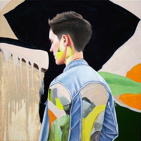 painted portrait of Dano Vos wearing denim jacket in a neutral and black abstract with orange and green.