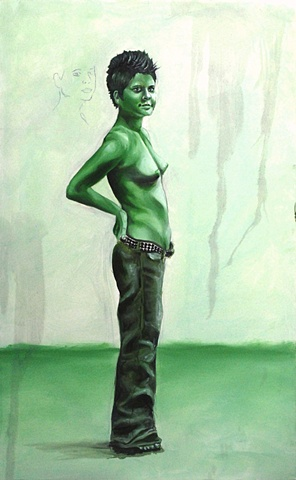 Monochromatic green painting of nude lesbian woman.