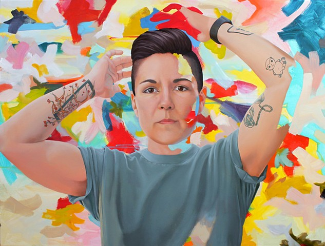 Portrait of the artist's wife over layered abstract background.  Exploring androgyny, gender and identity.