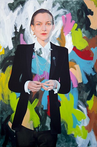 Archibald Prize finalist portrait of Australian model, activist and designer Ollie Henderson wearing House of Riot Tuxedo.