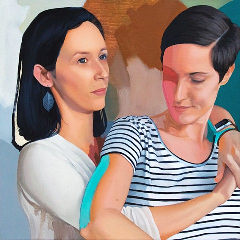 Oil painting portrait of a lesbian couple in love with abstract background