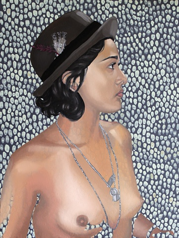 Painting of a nude woman with a polka-dot pattern wearing a fedora hat.