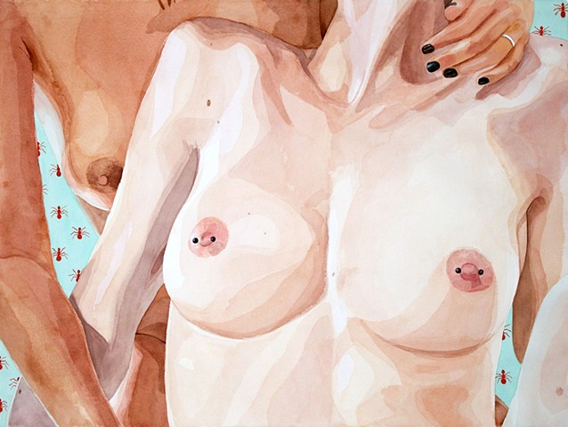 Watercolor painting of nude lesbians with a fire ant pattern.