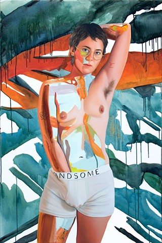 Painted portrait of an androgynous women wearing HANDSOME underwear amidst an abstract background of blue and amber orange.