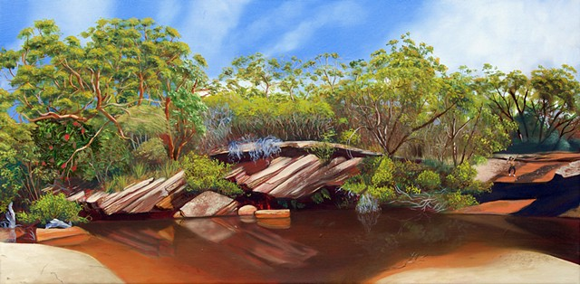 A painting of Deer Pool, Royal National Park in green, orange and blue.