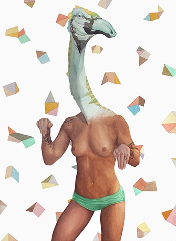 Painting of a Nanshiungosaurus dinosaur head on a nude woman.