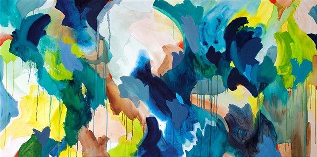 Gestural abstract with blue, citrus, yellow and orange large brushstrokes and dripping paint
